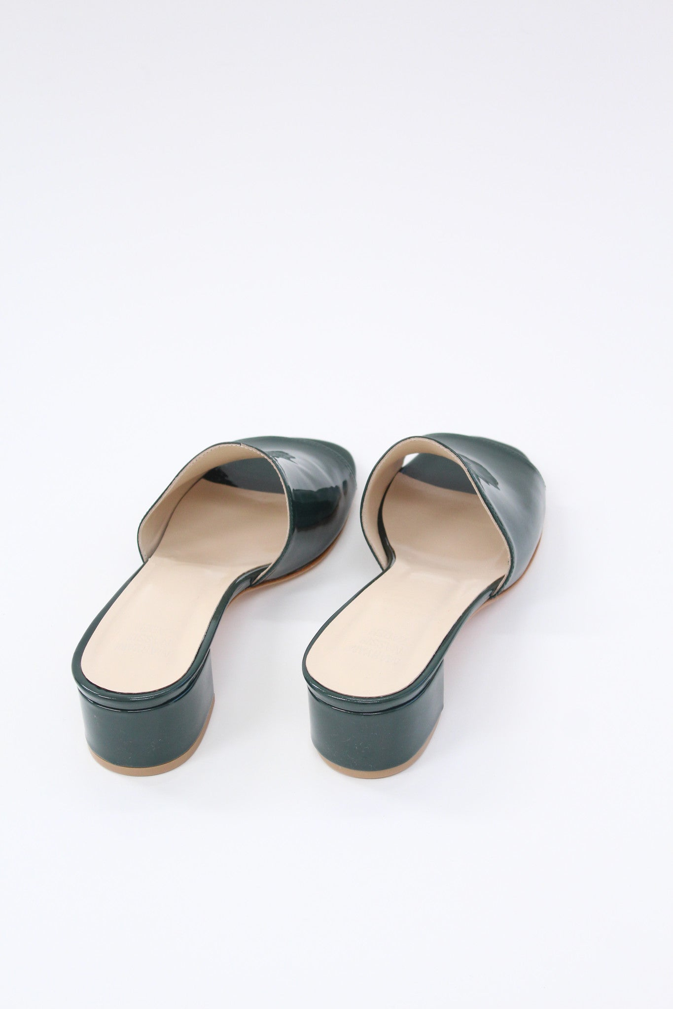 Maryam Nassir Zadeh Sophie Slide Bottle Green Patent