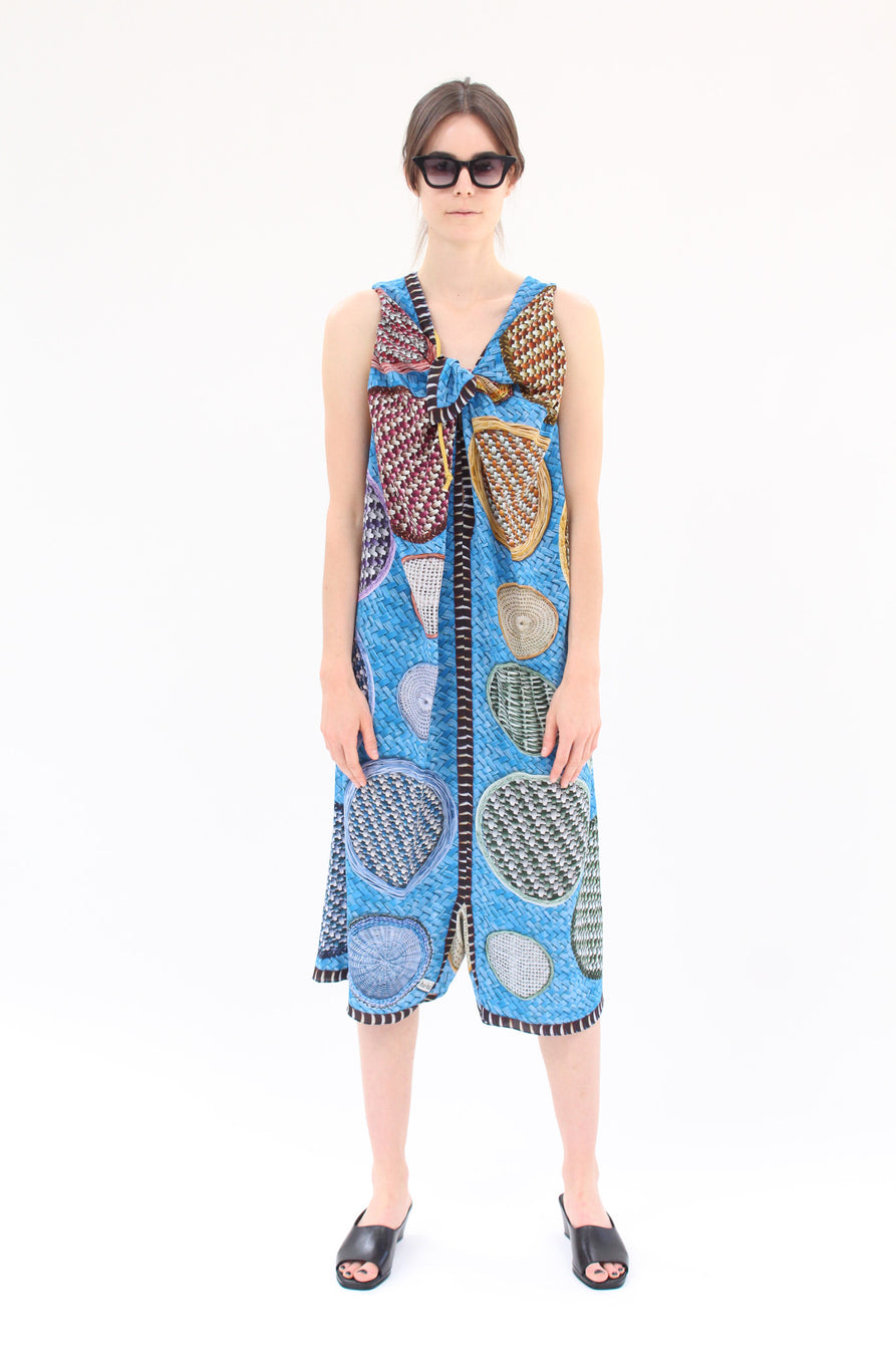 Hui Hui Silk Overall Dress Blue Basket Print
