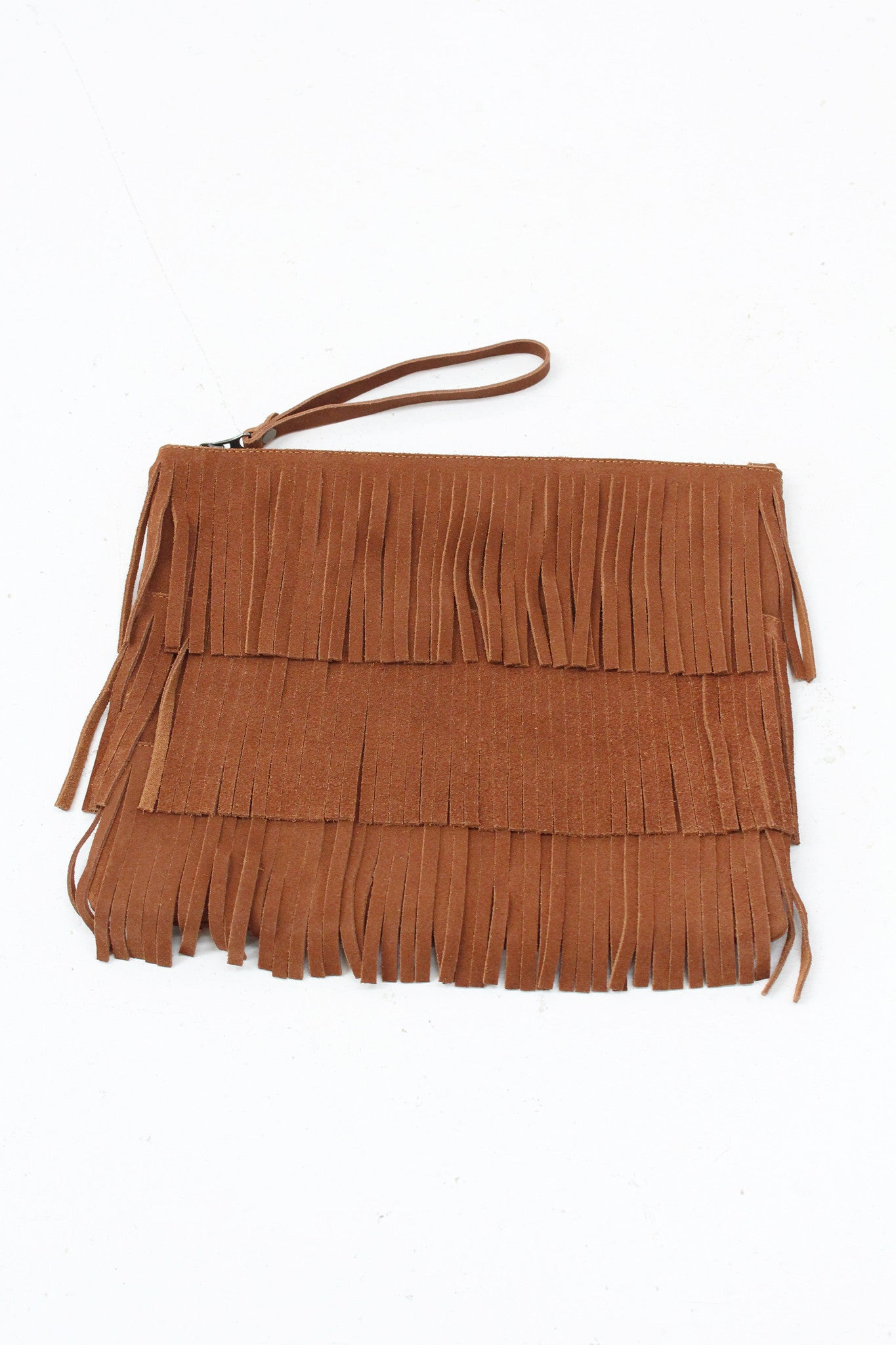 Beklina / Laura Leather Fringe Clutch