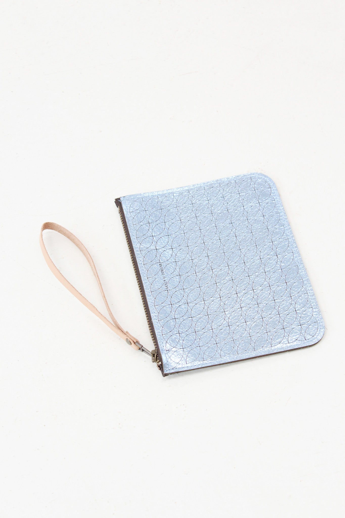 Beklina Metallic Leather Pouch Blue