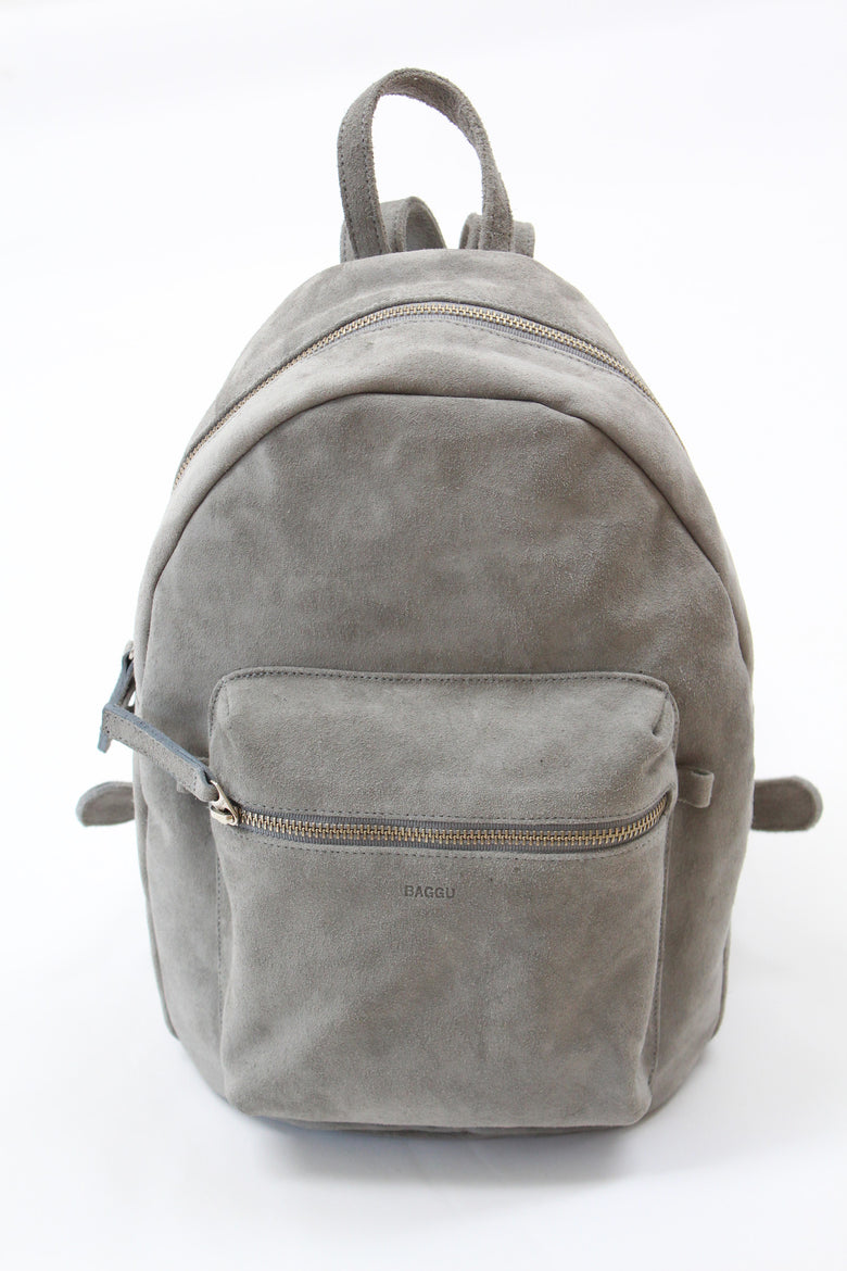 Baggu Leather Backpack Grey Suede