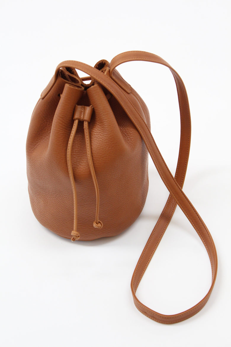 Baggu Leather Drawstring Purse Caramel