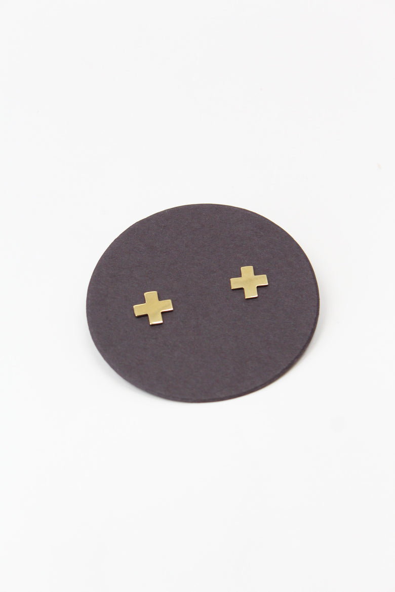 Annie Costello Brown Cross Post Earrings Brass