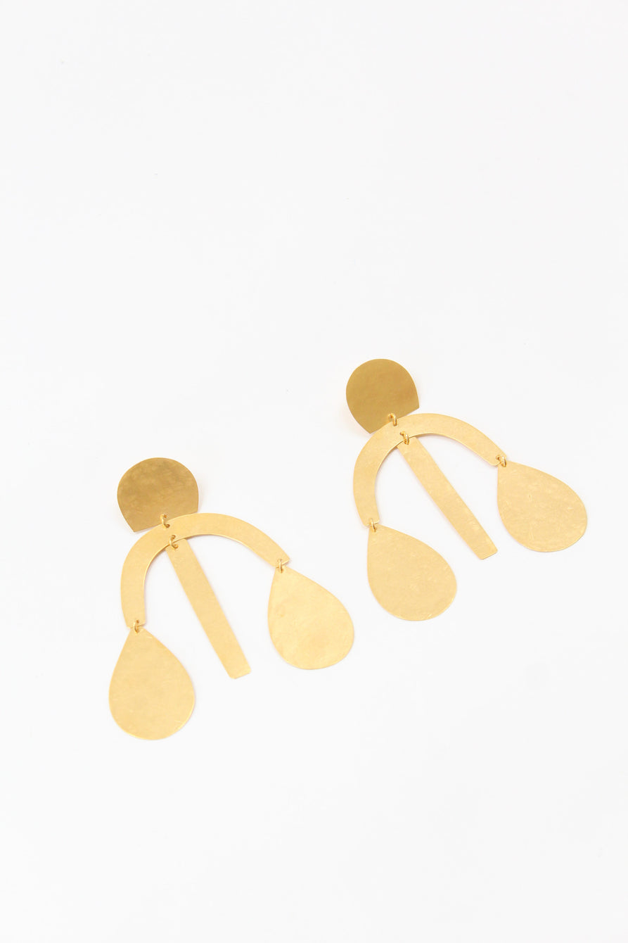 Annie Costello Brown Arc Drop Chandelier Earring Gold