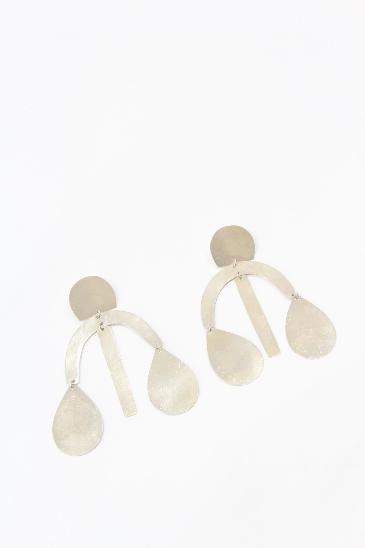 Annie Costello Brown Arc Drop Chandelier Earring Silver