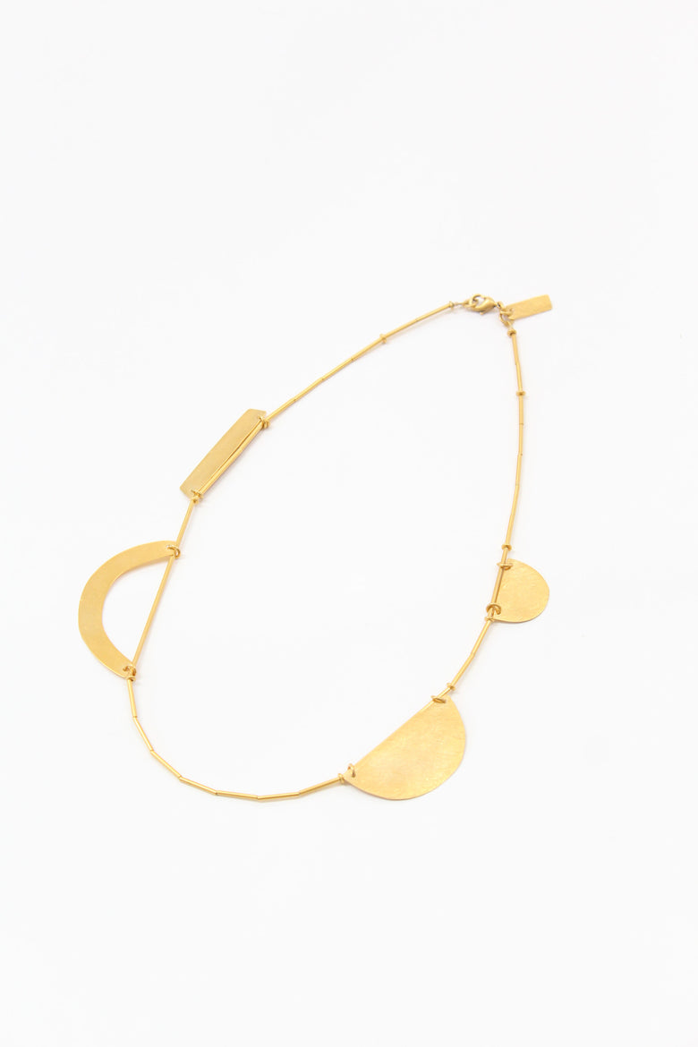 Annie Costello Brown Hammered Shapes Necklace Gold