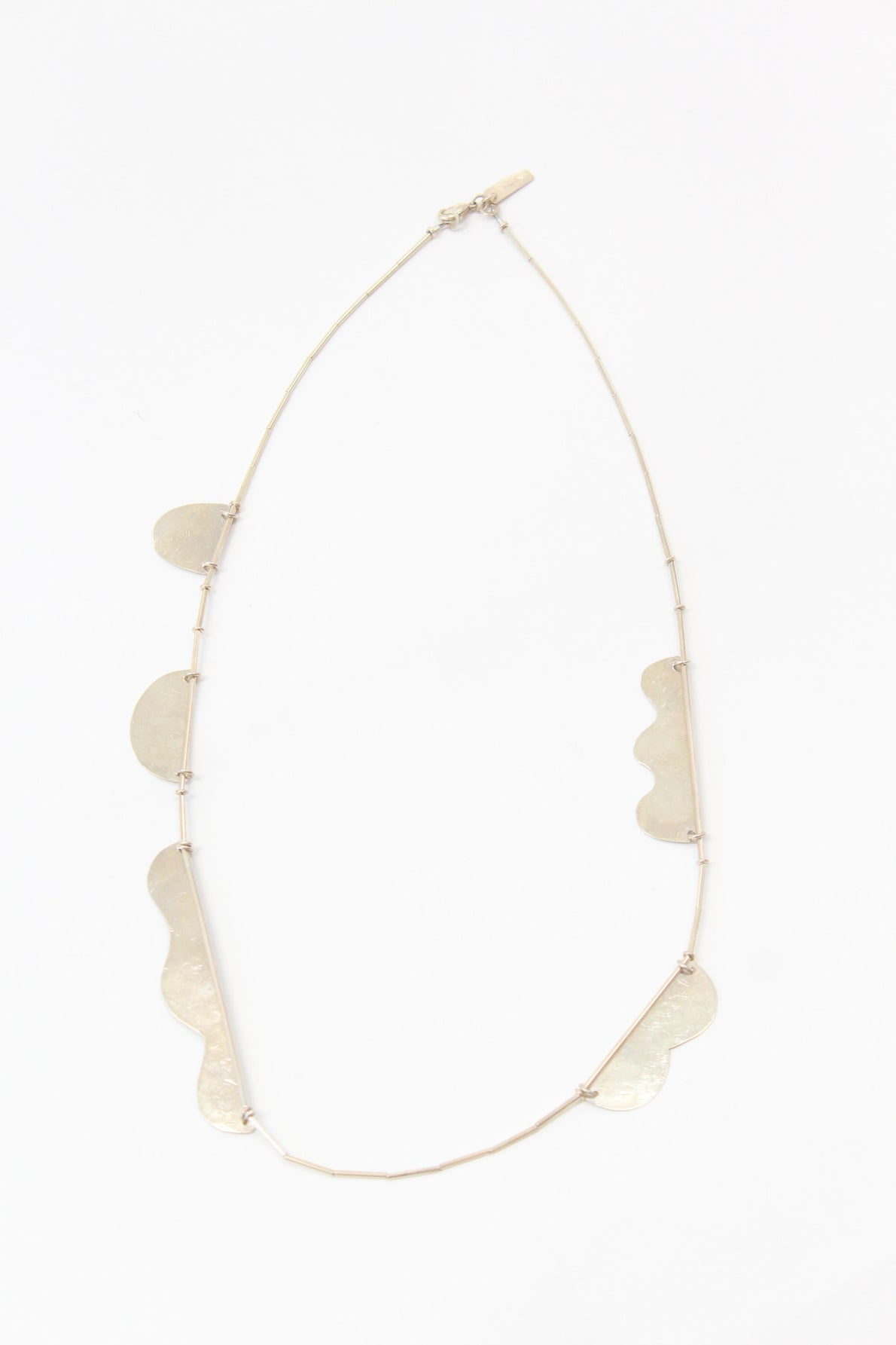 Annie Costello Brown Hammered Shapes Scallop Necklace Silver