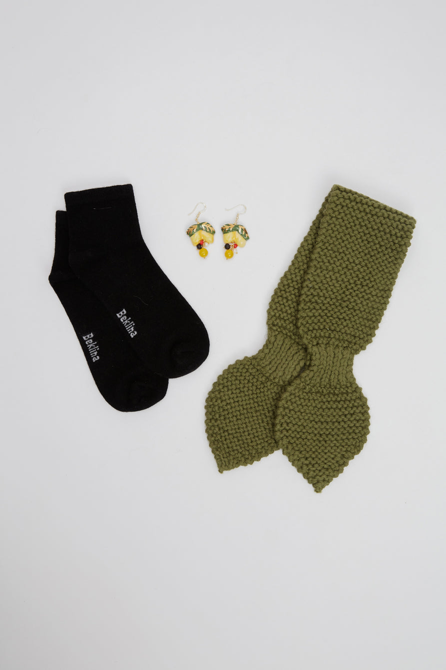 Beklina Gift Set Alpaca Neckie/Italian Earrings/Cashmere Socks