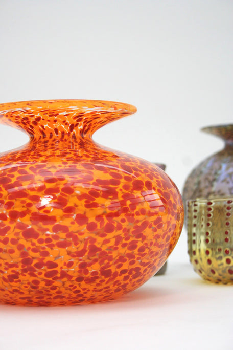 Beklina Handblown Orange Leopard Vase