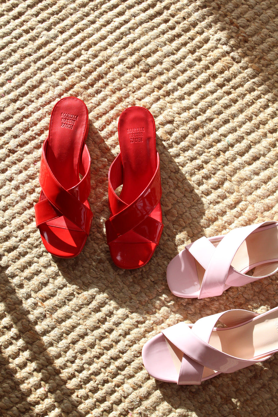 MNZ Lauren Slide Cherry Red Patent Leather