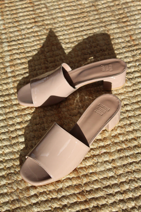 MNZ Sophie Slide Taupe Patent At Beklina