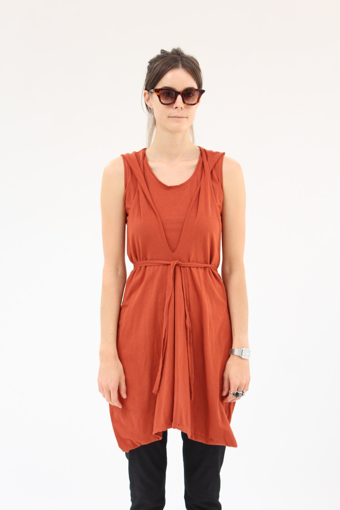 Lina Rennell Criss Cross Jersey Wrap Dress Terra Cotta