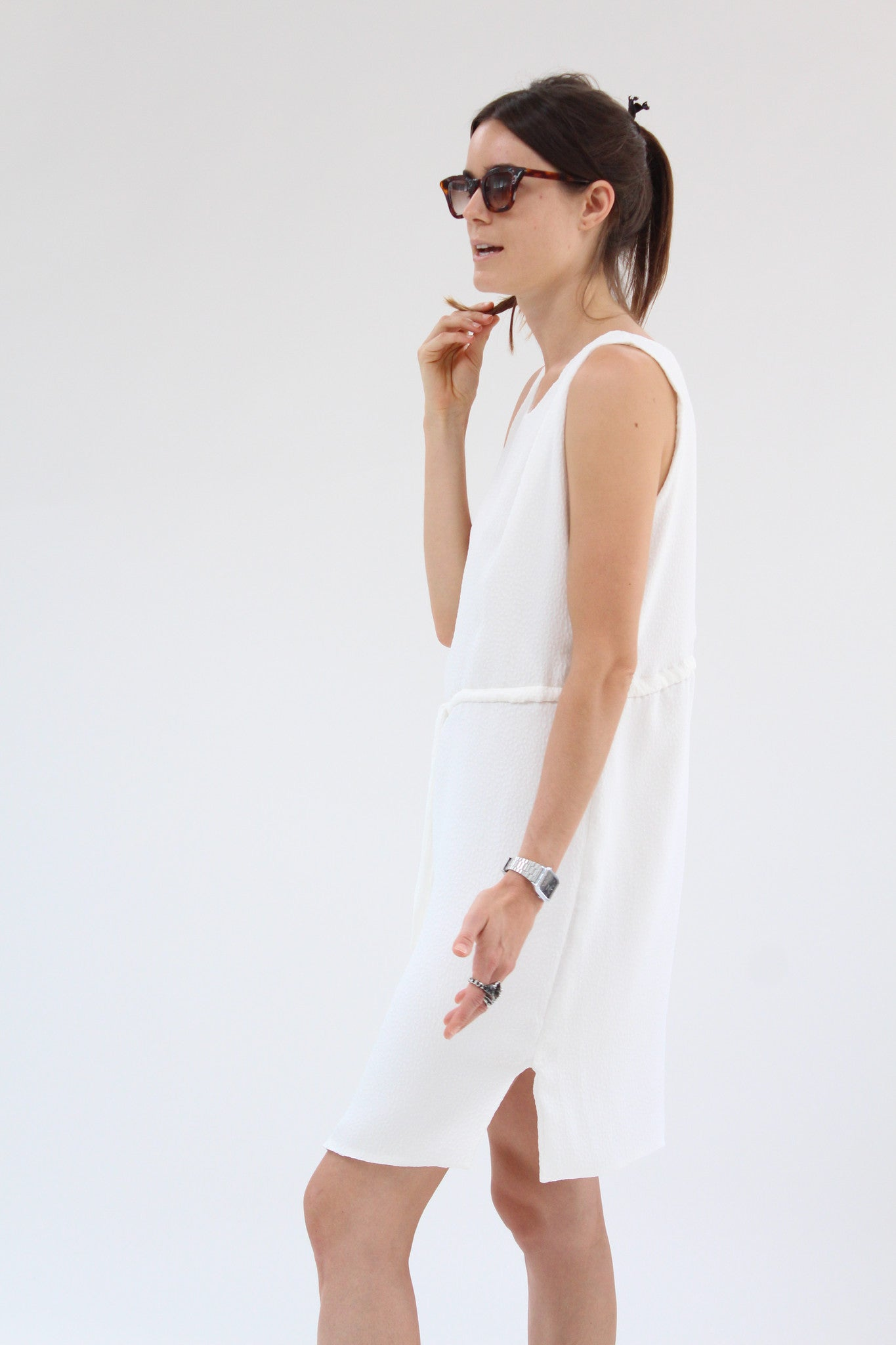 Lina Rennell Hoda Tie Dress Textured Silk White