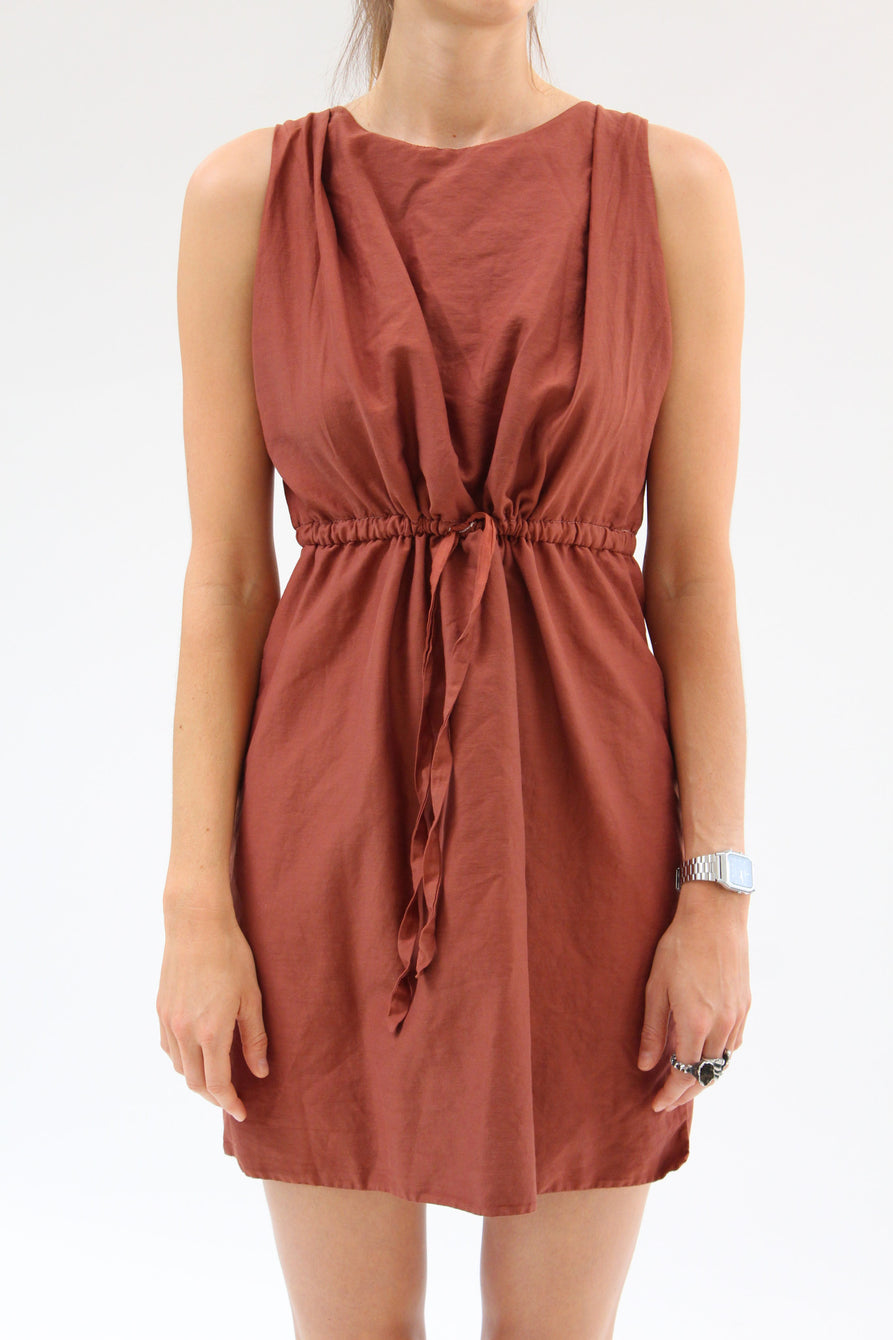 Lina Rennell Hoda Tie Dress Rust