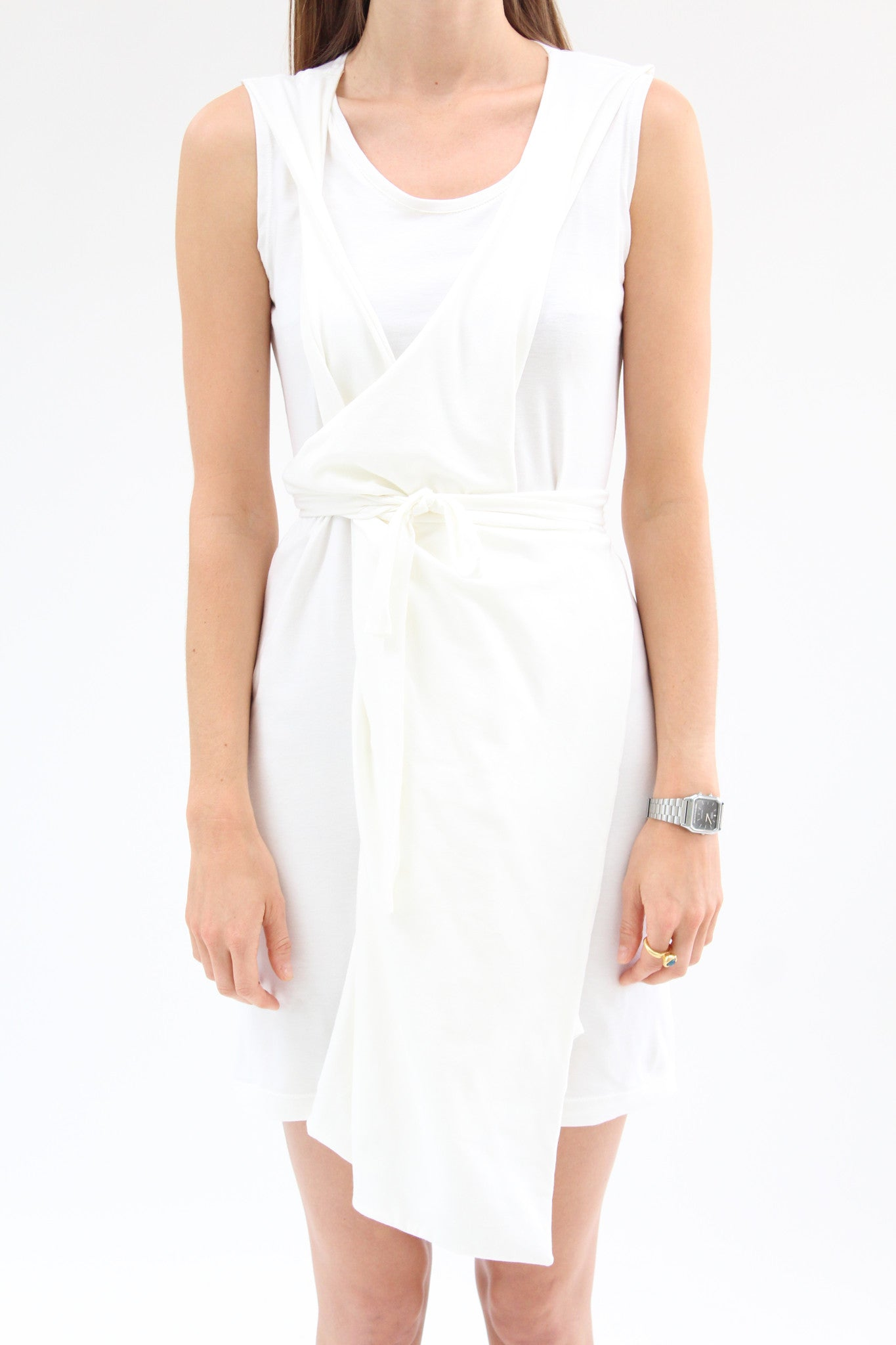 Lina Rennell Criss Cross Jersey Wrap Dress White / Beklina