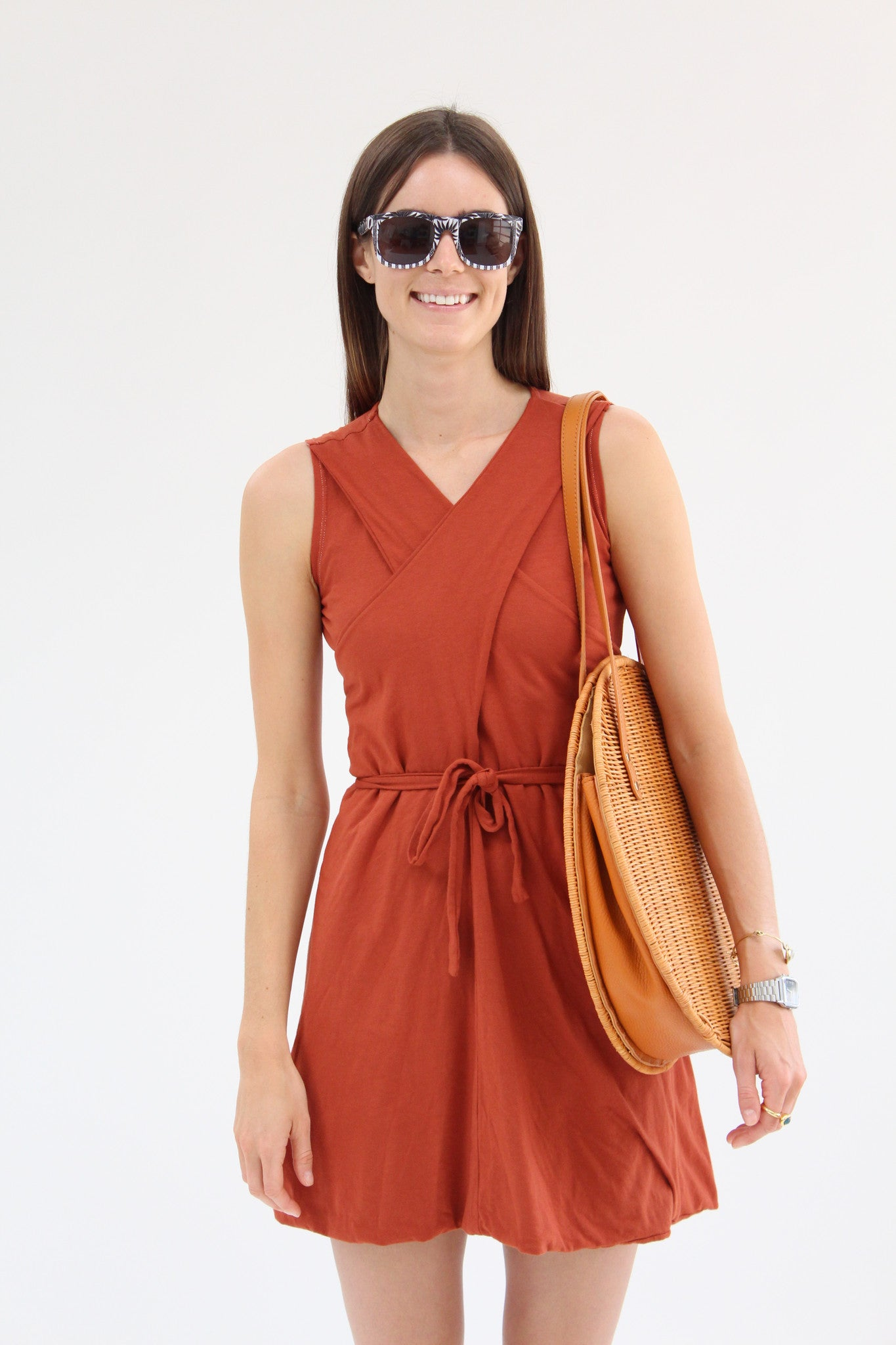 Lina Rennell Criss Cross Jersey Wrap Dress Terra Cotta / BEKLINA