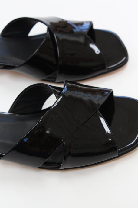 Beklina Criss Cross Slide Black Patent