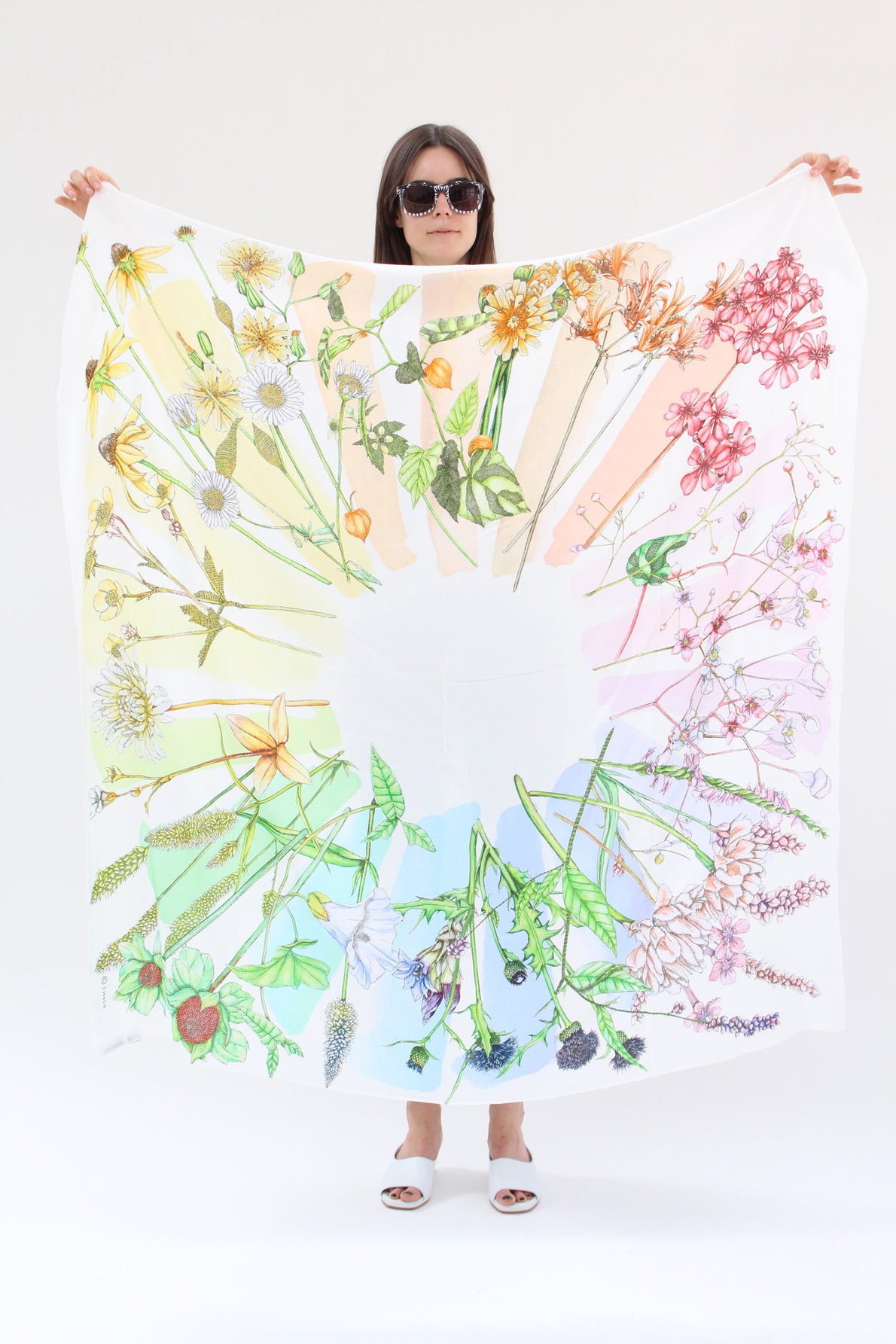 SWASH Silk Scarf Rainbow Flora Chroma