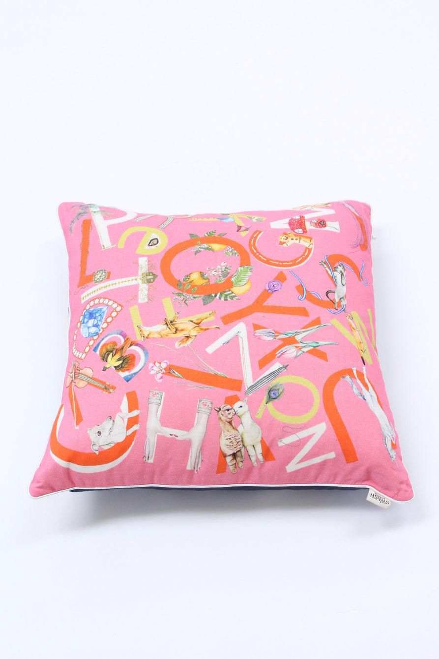 Swash Pillow ABC's Pink & Navy