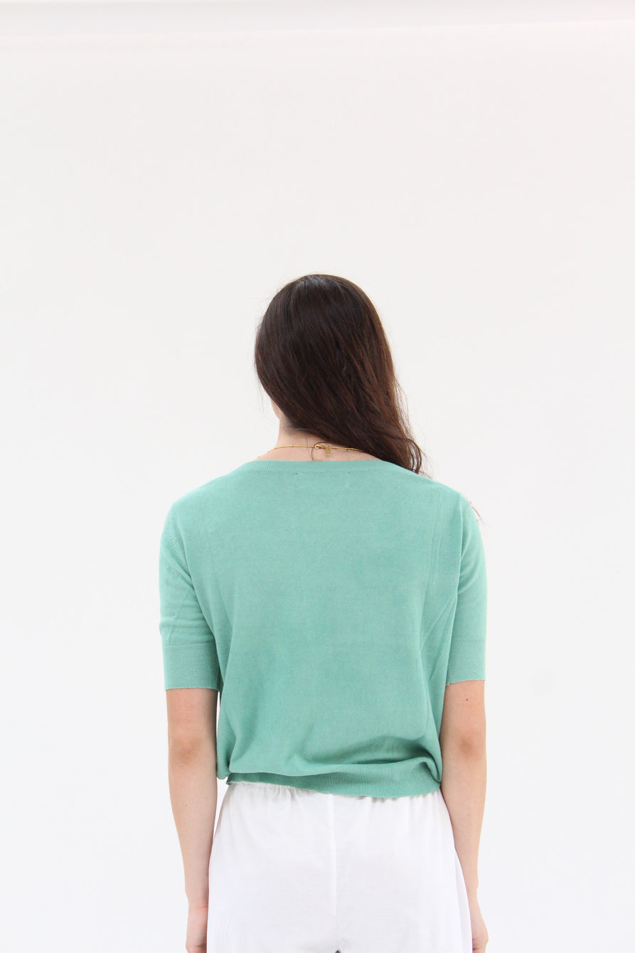 Lina Rennell Cotton Knit Sweater Top Jade