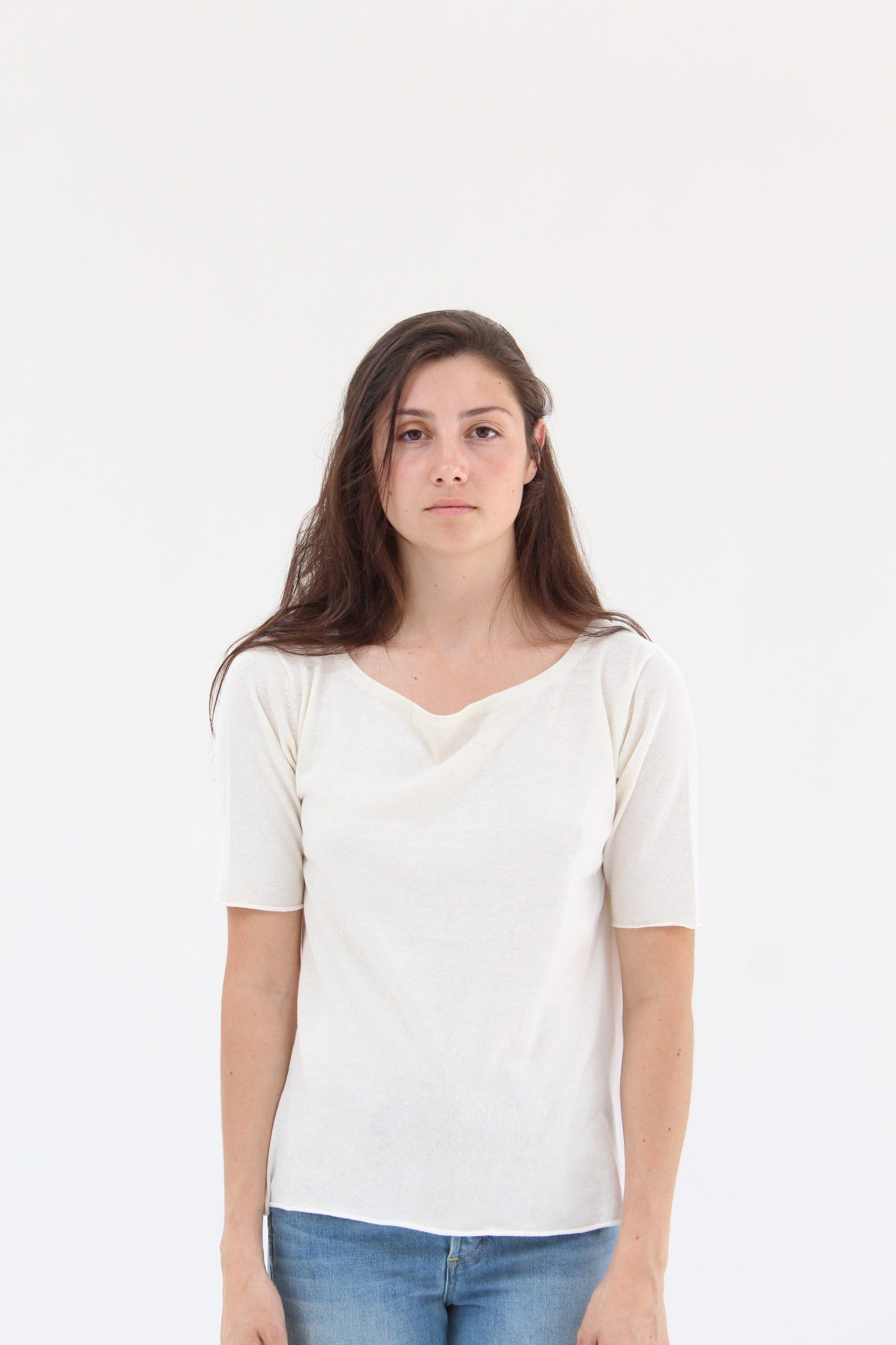 Lina Rennell Knit T Shirt Ivory