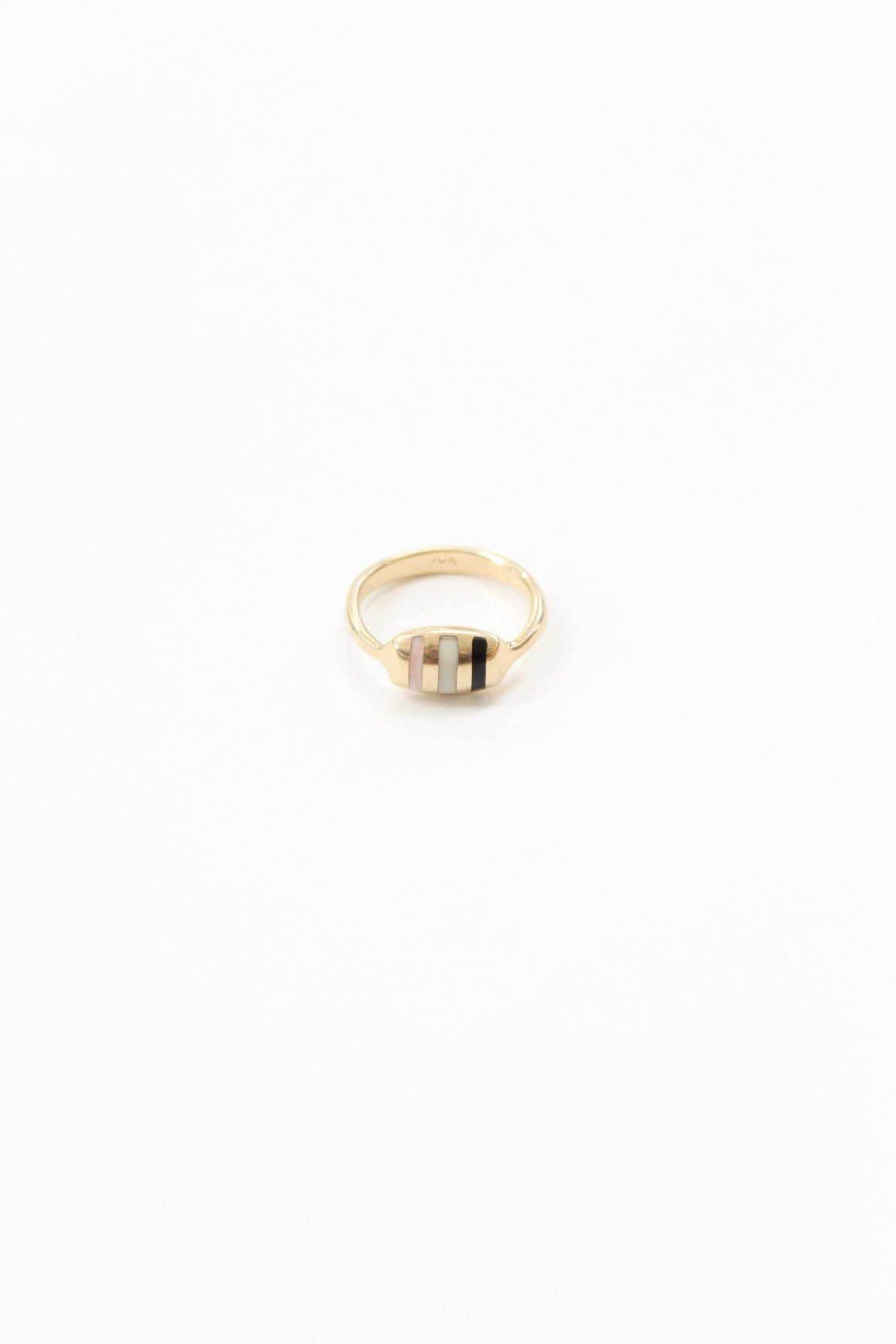 Ursa Major Inlay Striped Cushion Ring