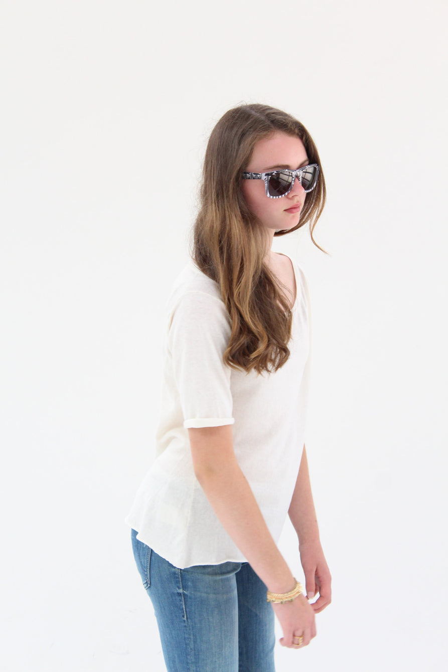 Lina Rennell Knit T Shirt Ivory / Carmella Rennell