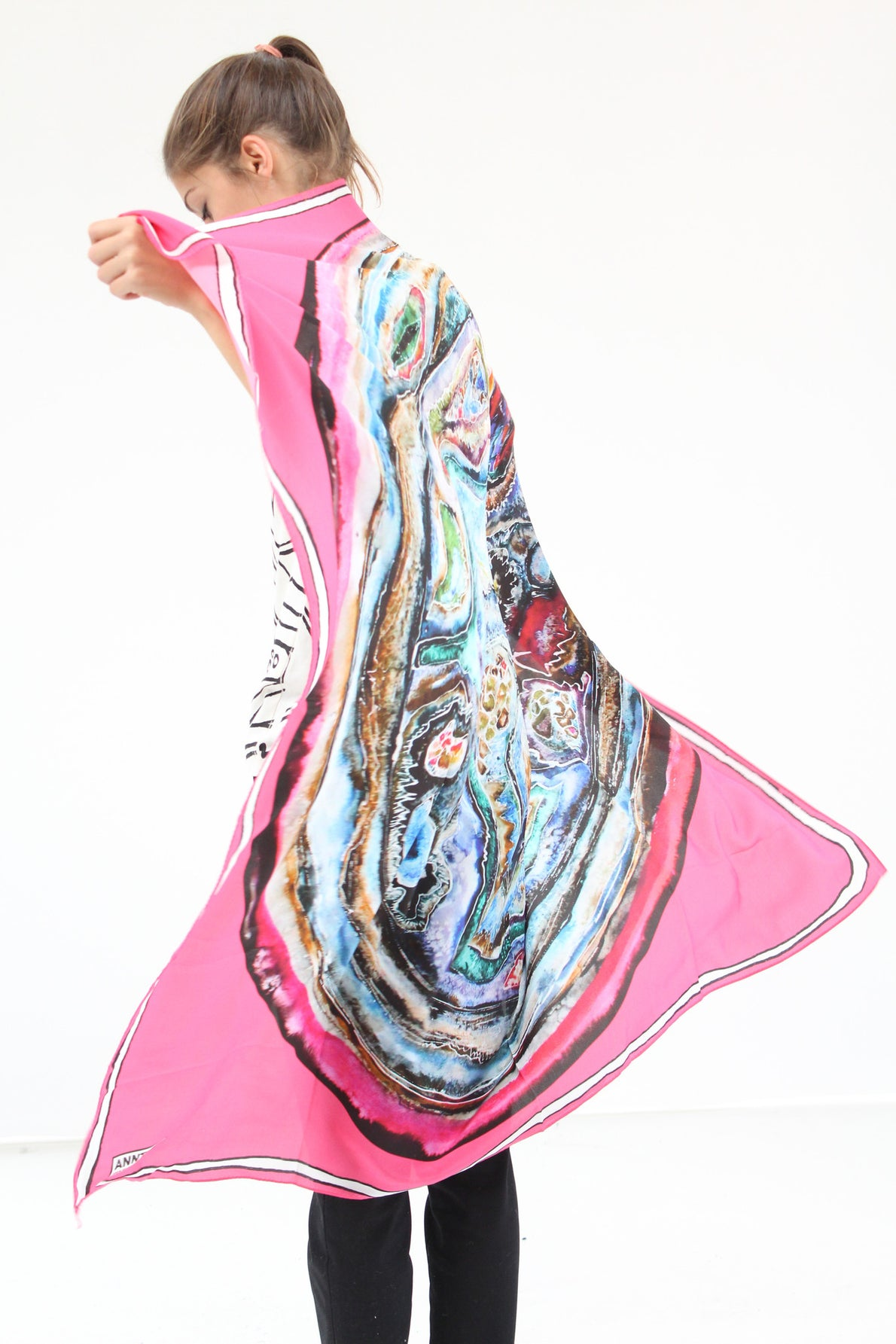 Anntian Silk Scarf Pink Circle Paint