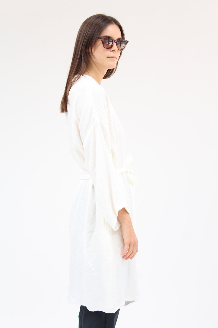 Lina Rennell Silk Robe Texture White