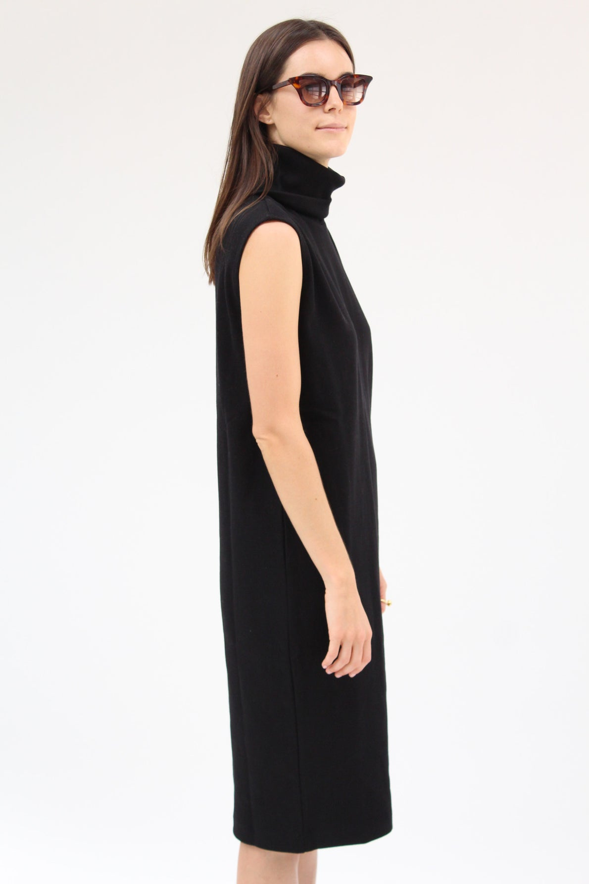 Kowtow Building Block Rib Roll Neck Dress Black / Beklina