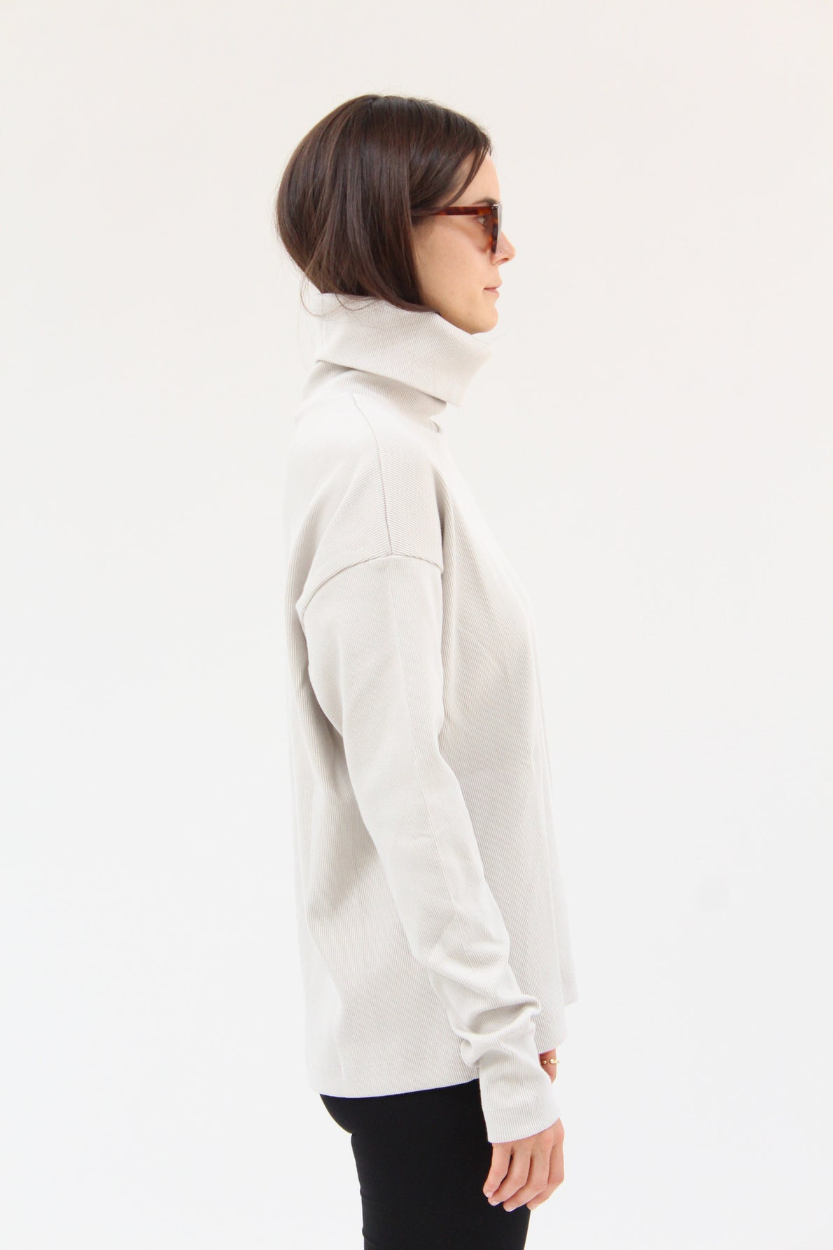 Kowtow Building Block Rib Roll Neck Top Ivory / Beklina
