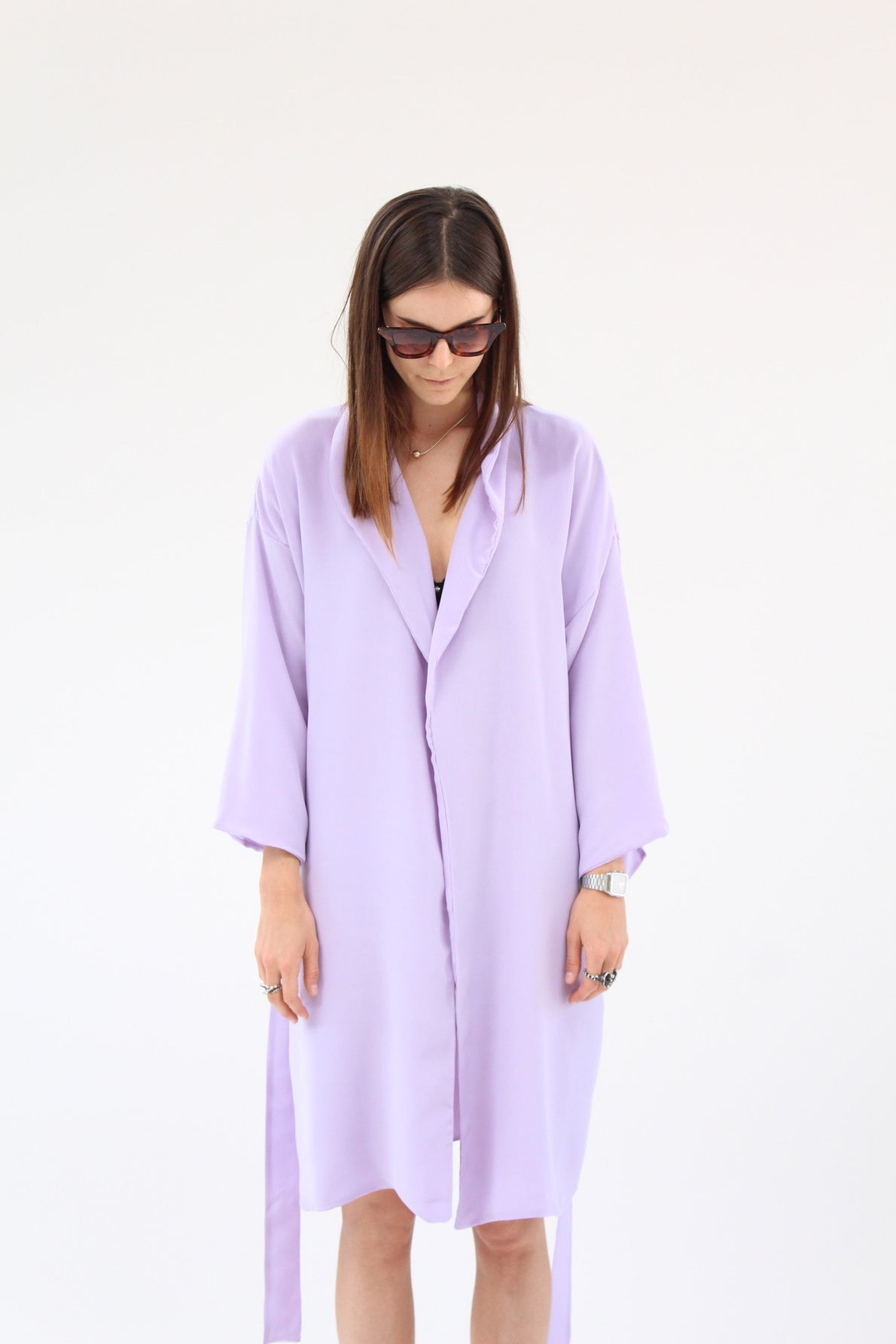 Lina Rennell Silk Robe Lilac / Beklina