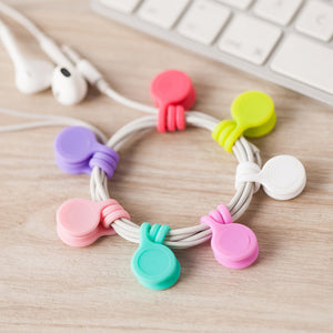 3PCS Silicone Magnet Coil Earphone Cables Winder Headset Bobbin Winder Hubs Cord Holder Cable Organizer For IPhone USB Cable
