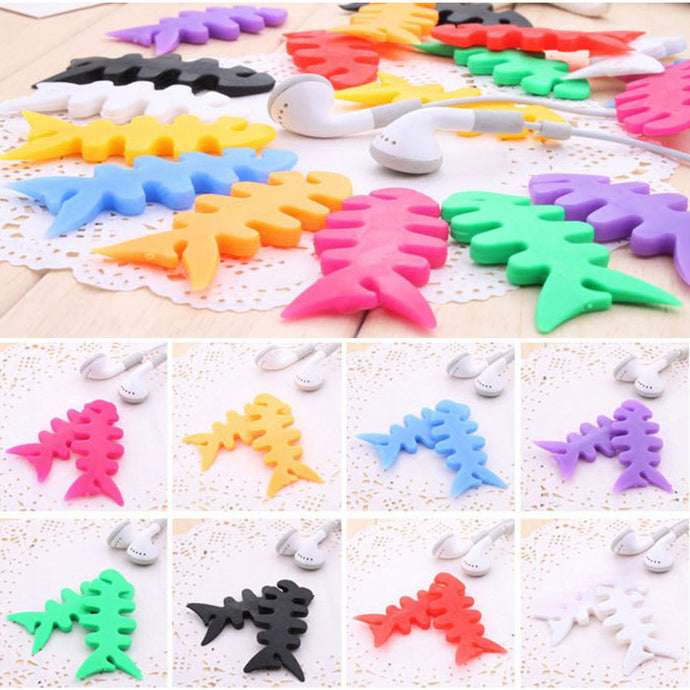 5pcs Fish Bone Silicone Auto Cable Cord Wire Organizer Bobbin Winder Smart Wrap For Headphone Earphone cable winder