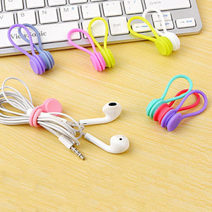 Soft Silicone Magnet Coil Earphone Cable Winder For IPhone charing Cable Headset Bobbin Winder Hubs Cord Holder Cable Organizer