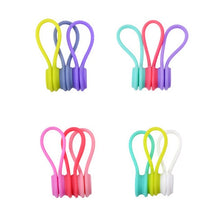 Load image into Gallery viewer, 3PCS Silicone Magnet Coil Earphone Cables Winder Headset Bobbin Winder Hubs Cord Holder Cable Organizer For IPhone USB Cable