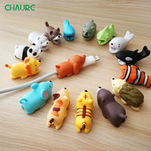 Load image into Gallery viewer, USB Cable bites Protector Animal Cute  Cartoon Cover Protect Case for Iphone cable Earphone cable buddies Cellphone Decor Wire