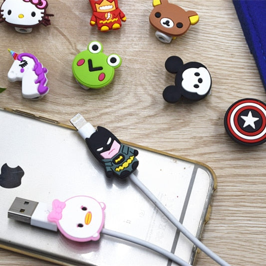Cartoo Cable Earphone Protector For iPhone Sansung Huawei Xiaomi USB Colorful Data Charger Earphone Cable Cover protetor de cabo