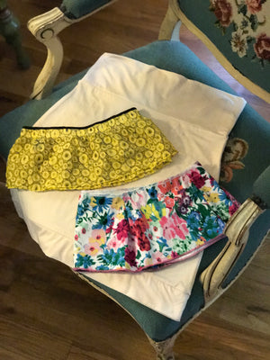 Outskirts Half Slip with 2 snap-on extender layers -Yellow and Floral