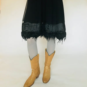 Black Feathers Half Slip