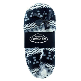 Cuddle Eze Slippers Black/White Pattern
