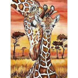 Diamond Art Picture Half Drill Size 15X20- Giraffe Baby