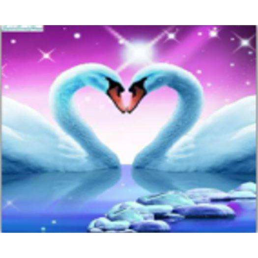 Diamond Art Picture Half Drill Size 15X20- Only Love Two Swans