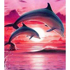 Diamond Art Picture Half Drill Size 15X20- Dolphins