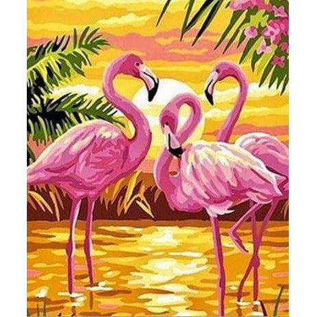 Diamond Art Picture Half Drill Size 15X20- Flamingoes