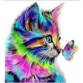 Diamond Art Picture Half Drill Size 15X20- Rainbow Cat