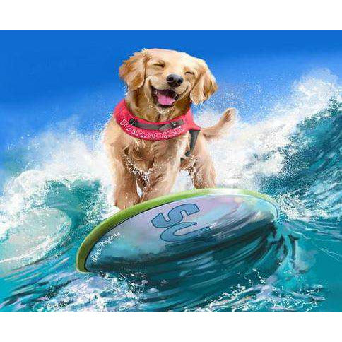 Diamond Art Picture Half Drill Size 15X20- Surf Dog