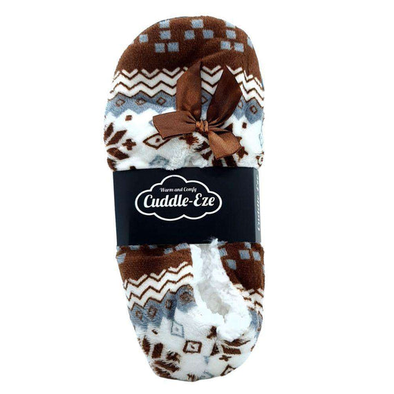 Cuddle Eze Slippers Brown Pattern