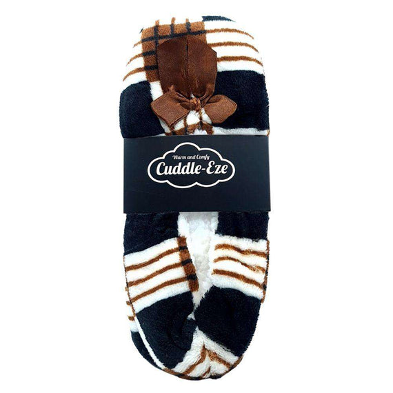 Cuddle Eze Slippers Black/Brown Tartan