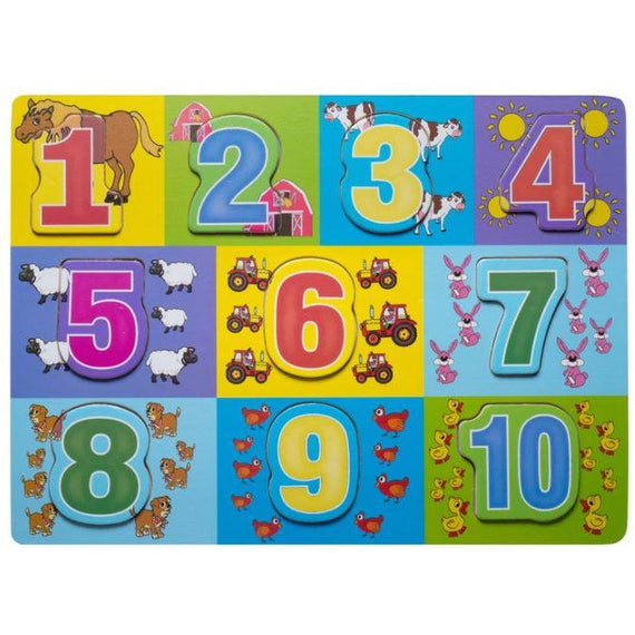 Kids wood Puzzle- 1 to 10 Numbers with Farm Animals